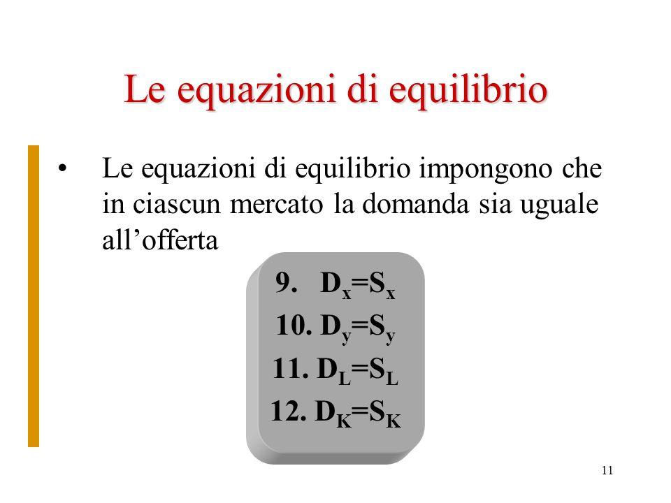 10 Le equazioni di comportamento 1.D x 2.S x 3.D y 4.S y 5.D L 6.S L 7.D K 8.S k Da quanto detto risulta che: Sono tutte funzioni dei prezzi p x, p y,