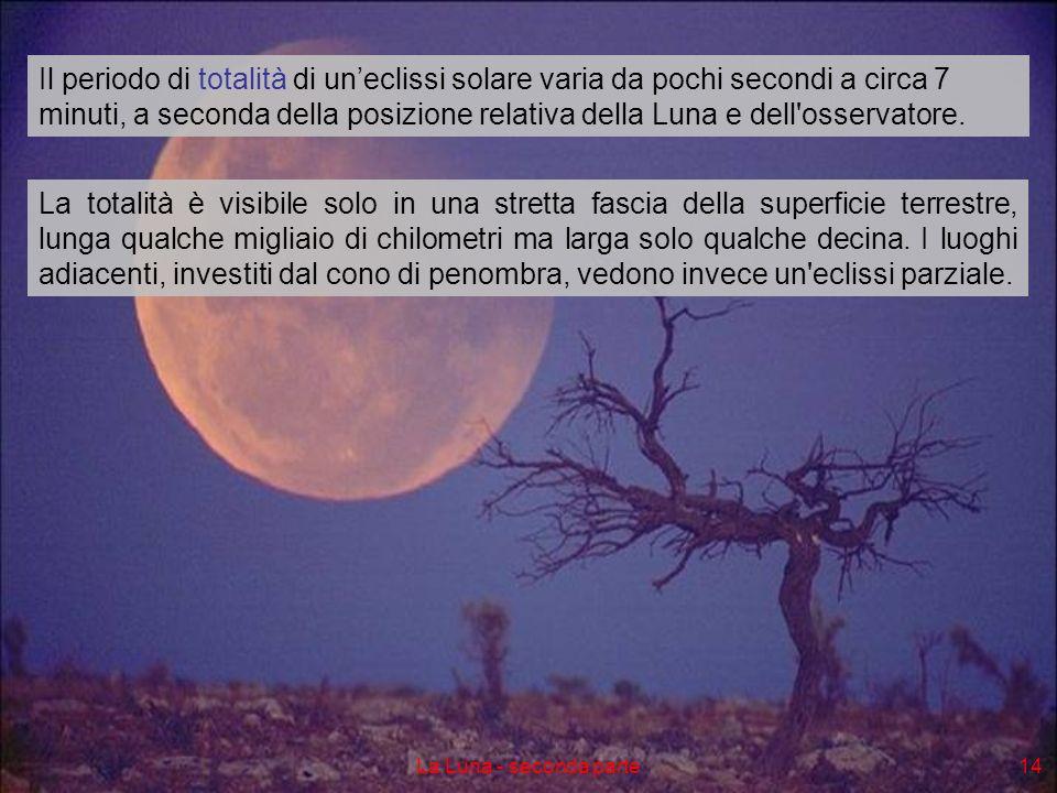 La Luna - seconda parte14 Il periodo di totalità di uneclissi solare varia da pochi secondi a circa 7 minuti, a seconda della posizione relativa della