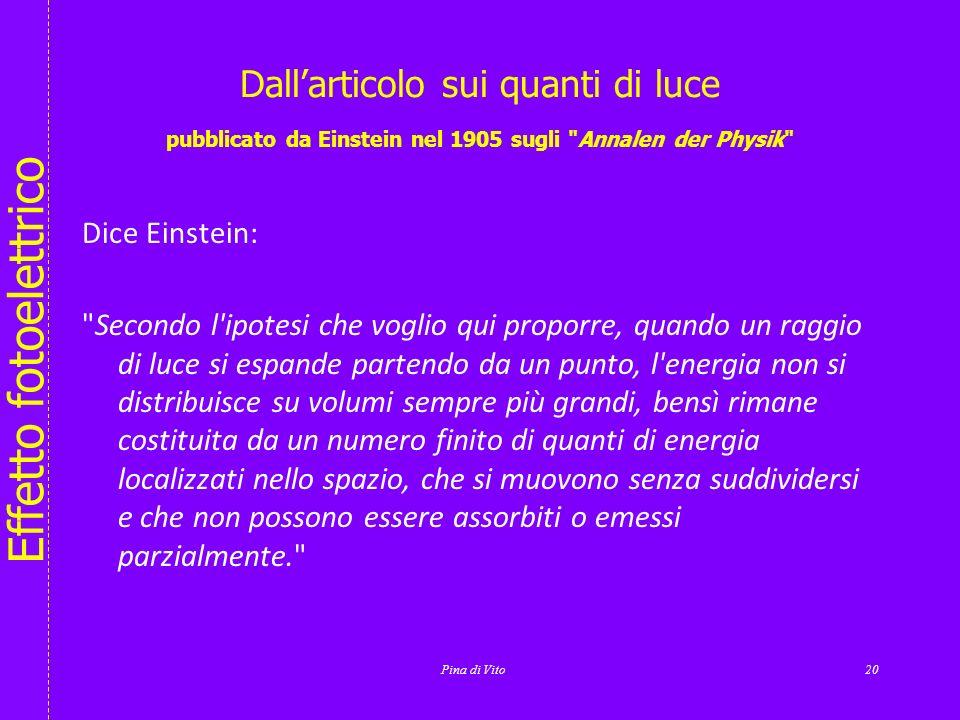 Effetto fotoelettrico Pina di Vito19 Leggi delleffetto fotoelettrico soglia fotoelettrica hf 0 =W 1)Se hf < W non si ha energia sufficiente per estrar