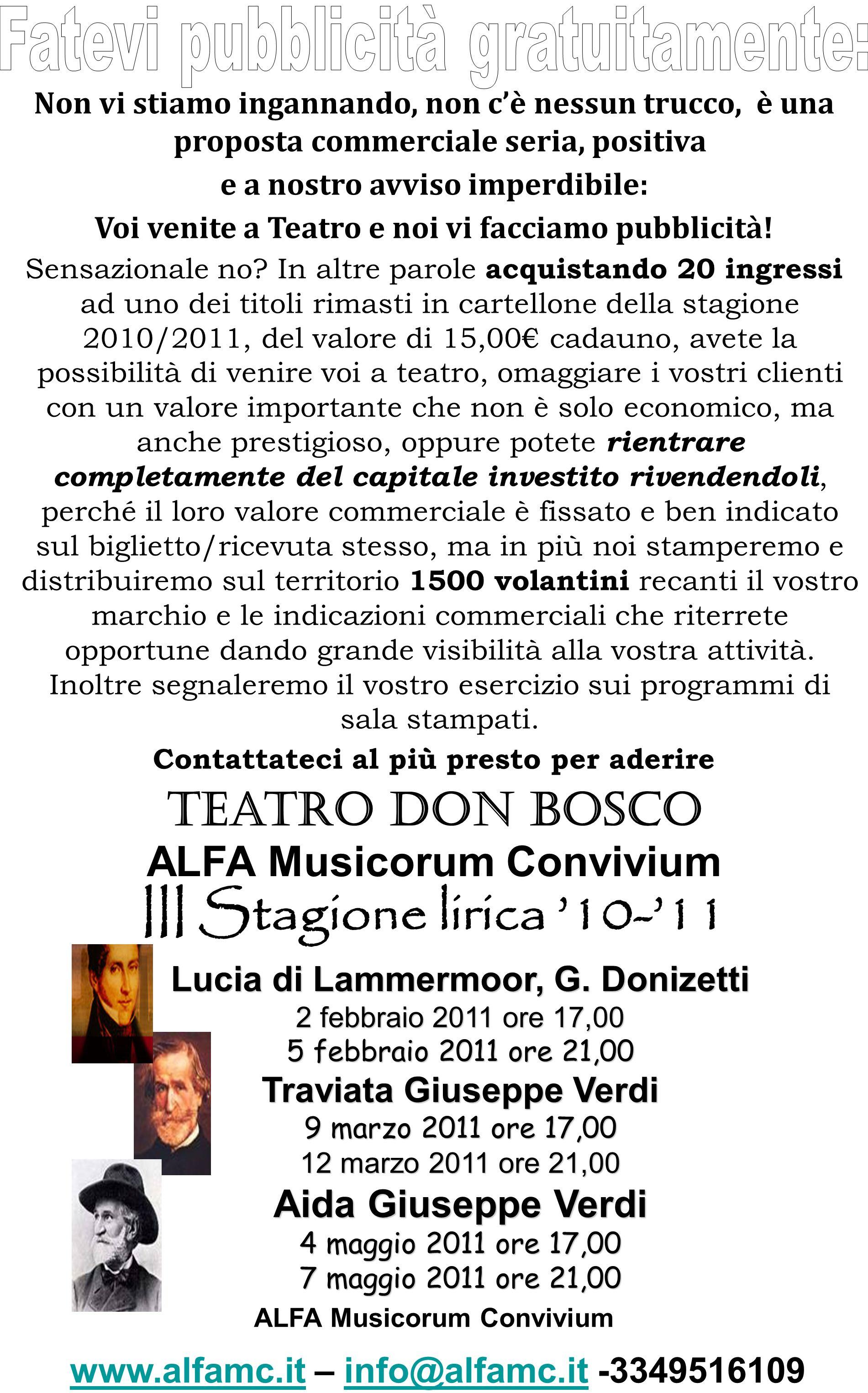 ALFA Musicorum Convivium www.alfamc.it – info@alfamc.it -3349516109 www.alfamc.itinfo@alfamc.it Teatro Don Bosco ALFA Musicorum Convivium III Stagione