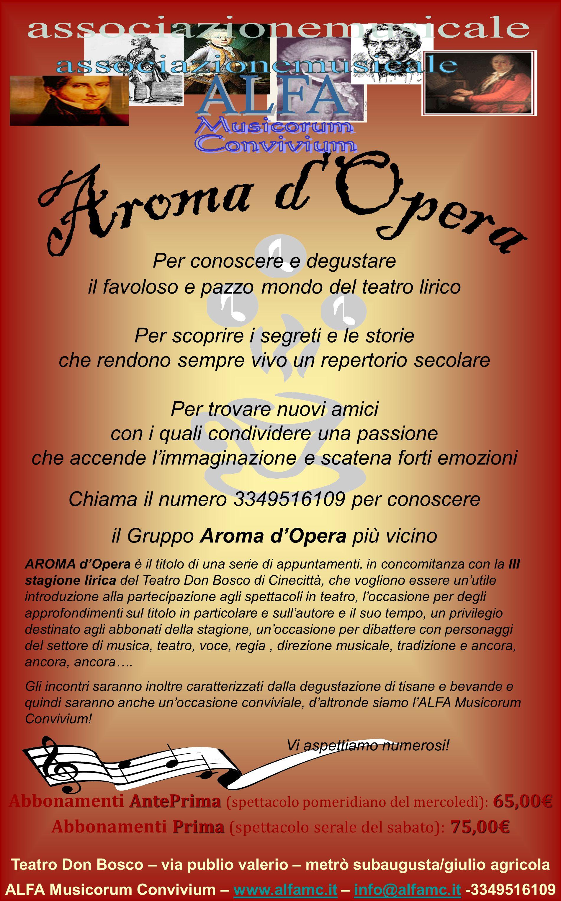 Teatro Don Bosco – via publio valerio – metrò subaugusta/giulio agricola ALFA Musicorum Convivium – www.alfamc.it – info@alfamc.it -3349516109www.alfa