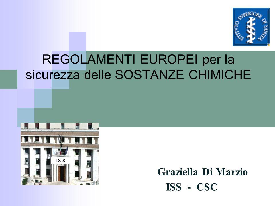 REGOLAMENTI EUROPEI per la sicurezza delle SOSTANZE CHIMICHE Graziella Di Marzio ISS - CSC I.S.S