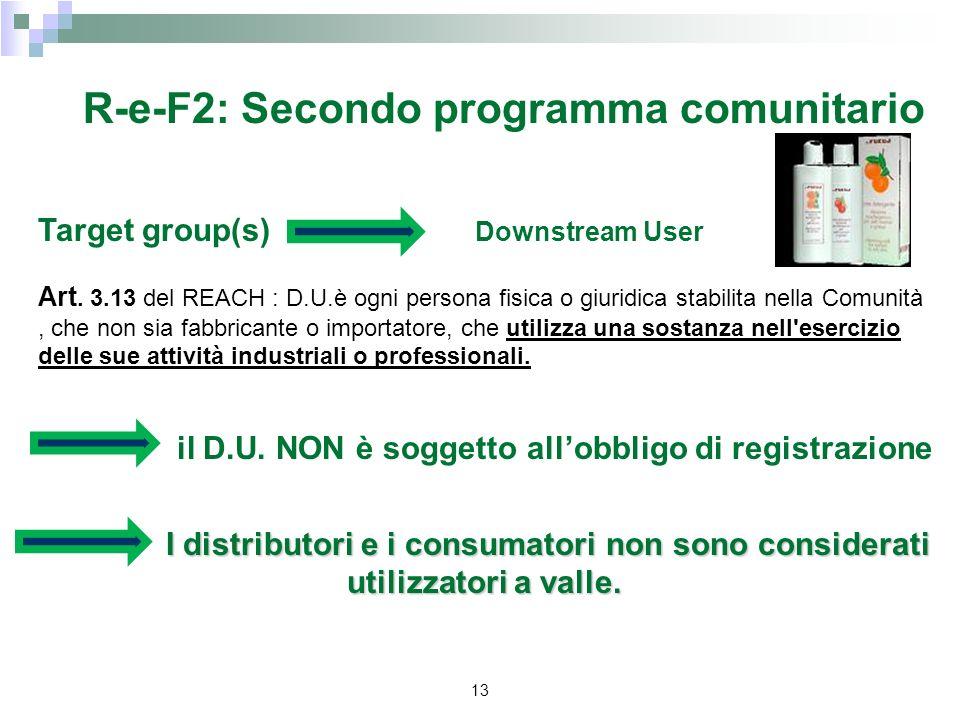 13 R-e-F2: Secondo programma comunitario Target group(s) Downstream User Art. 3.13 del REACH : D.U.è ogni persona fisica o giuridica stabilita nella C