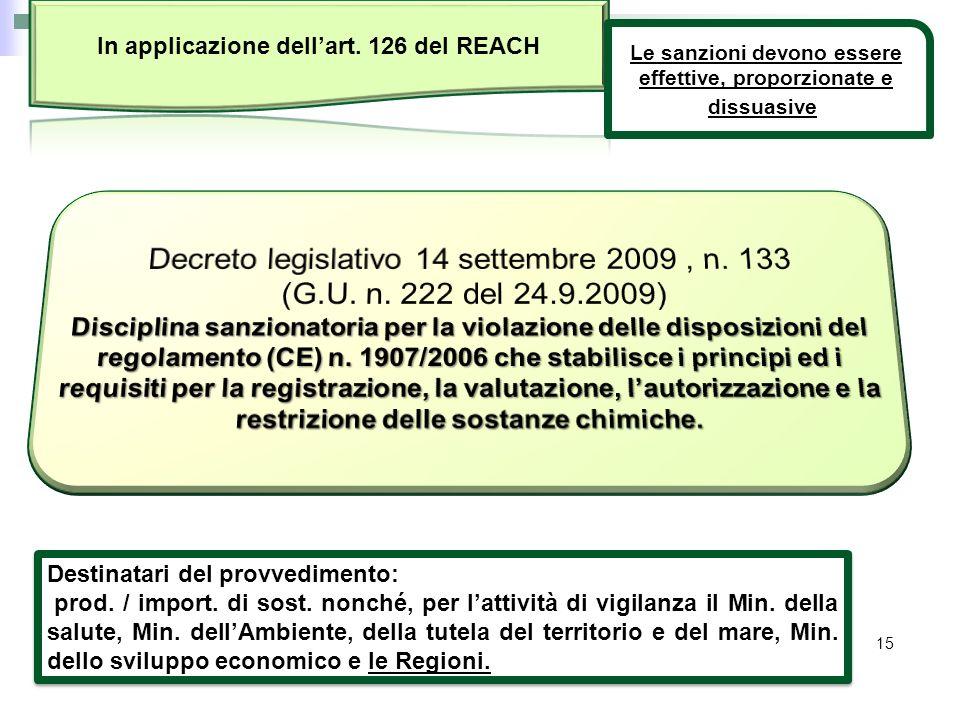 15 Destinatari del provvedimento: prod. / import. di sost. nonché, per lattività di vigilanza il Min. della salute, Min. dellAmbiente, della tutela de