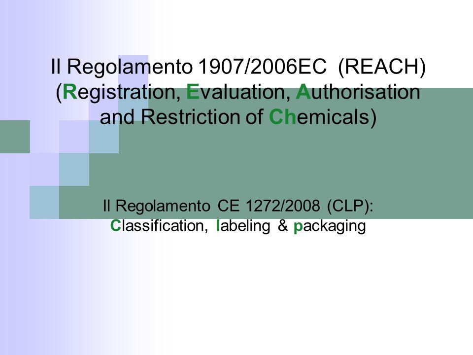 REACH REGOLAMENTO (CE) n.