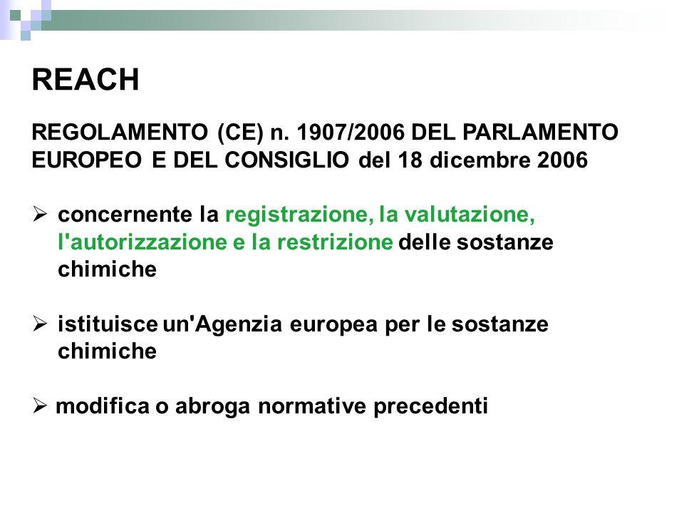 REACH REGOLAMENTO (CE) n. 1907/2006 DEL PARLAMENTO EUROPEO E DEL CONSIGLIO del 18 dicembre 2006 concernente la registrazione, la valutazione, l'autori