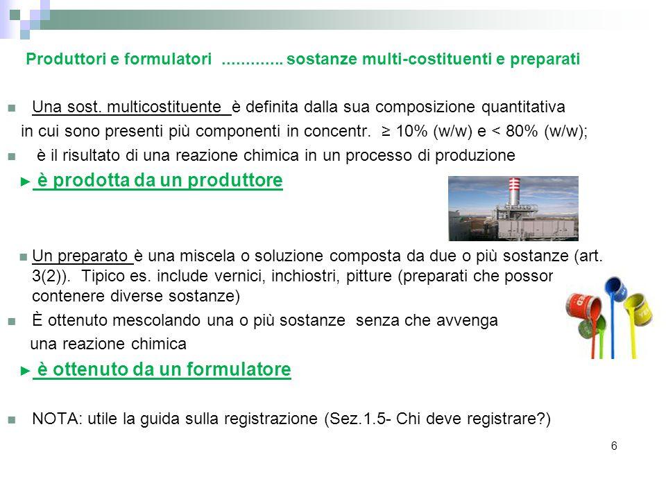 Produttori e formulatori............. sostanze multi-costituenti e preparati Una sost. multicostituente è definita dalla sua composizione quantitativa