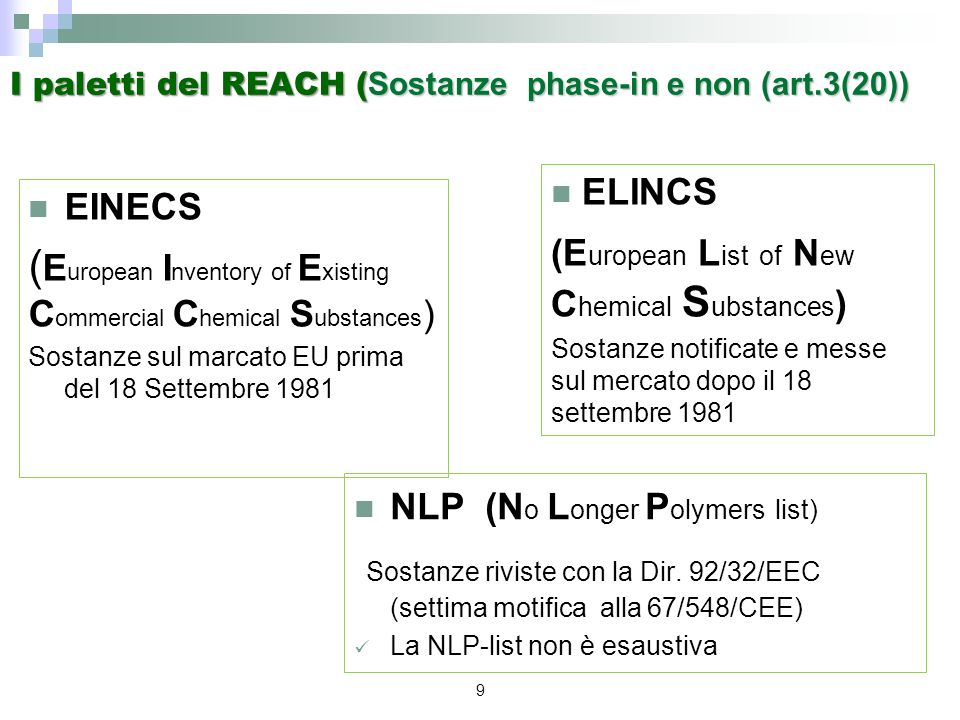 9 I paletti del REACH ( Sostanze phase-in e non (art.3(20)) EINECS ( E uropean I nventory of E xisting C ommercial C hemical S ubstances ) Sostanze su