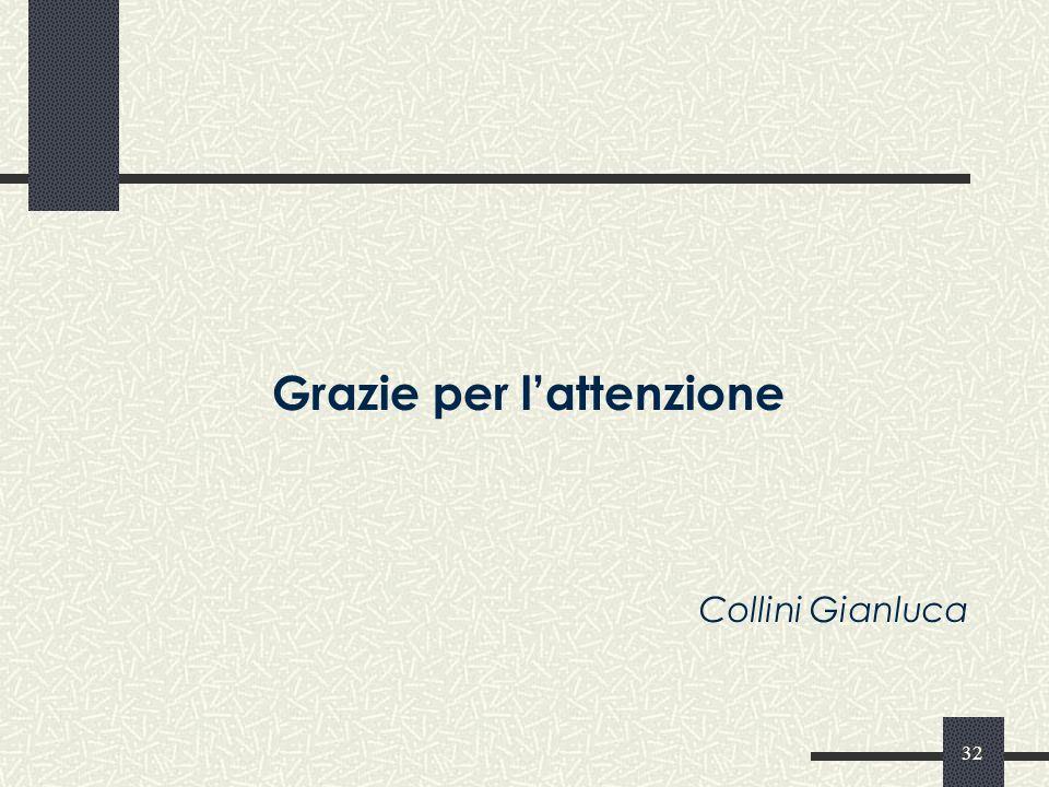 32 Grazie per lattenzione Collini Gianluca