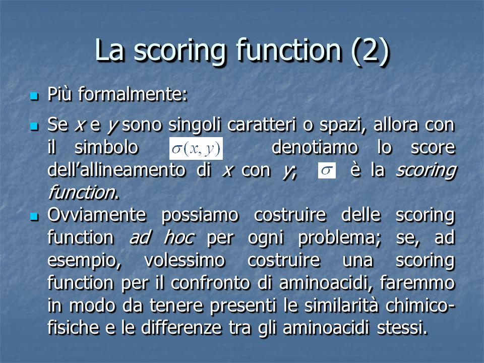 La scoring function (2) Più formalmente: Più formalmente: Se x e y sono singoli caratteri o spazi, allora con il simbolo denotiamo lo score dellallineamento di x con y; è la scoring function.