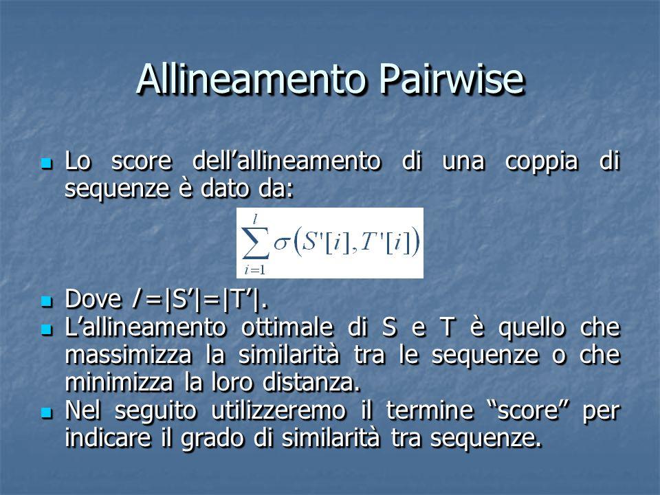 Allineamento Pairwise Lo score dellallineamento di una coppia di sequenze è dato da: Lo score dellallineamento di una coppia di sequenze è dato da: Dove l =|S|=|T|.