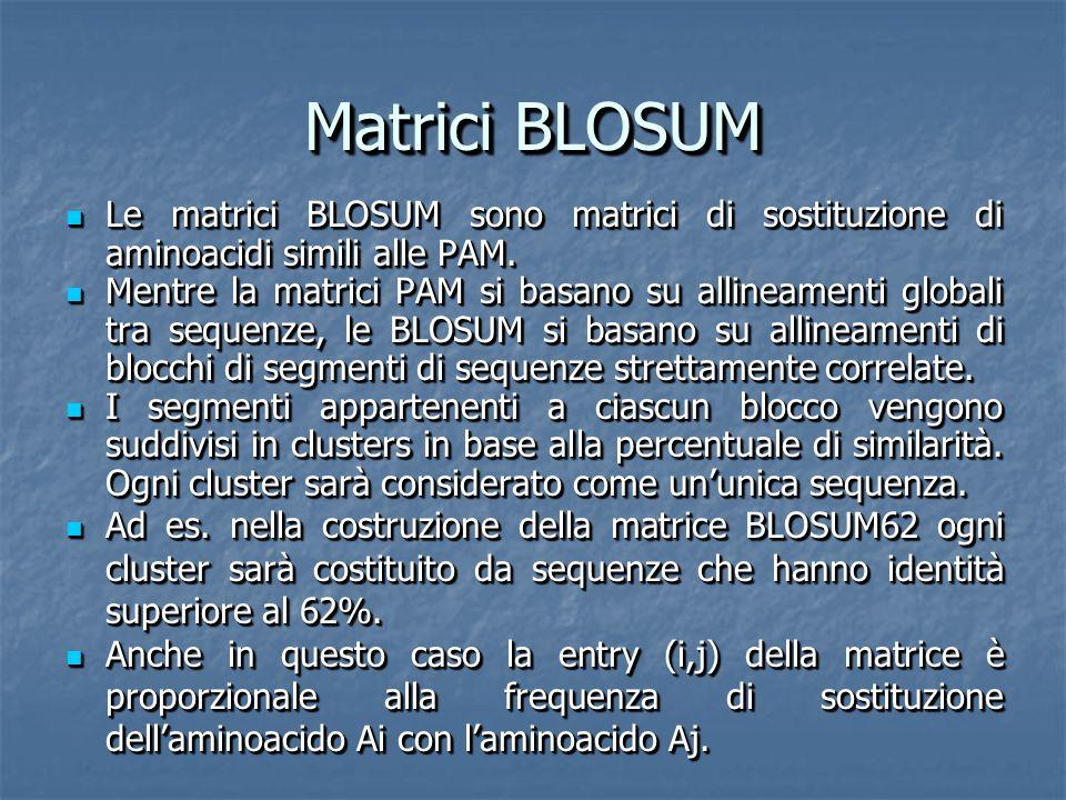 Matrici BLOSUM Le matrici BLOSUM sono matrici di sostituzione di aminoacidi simili alle PAM.
