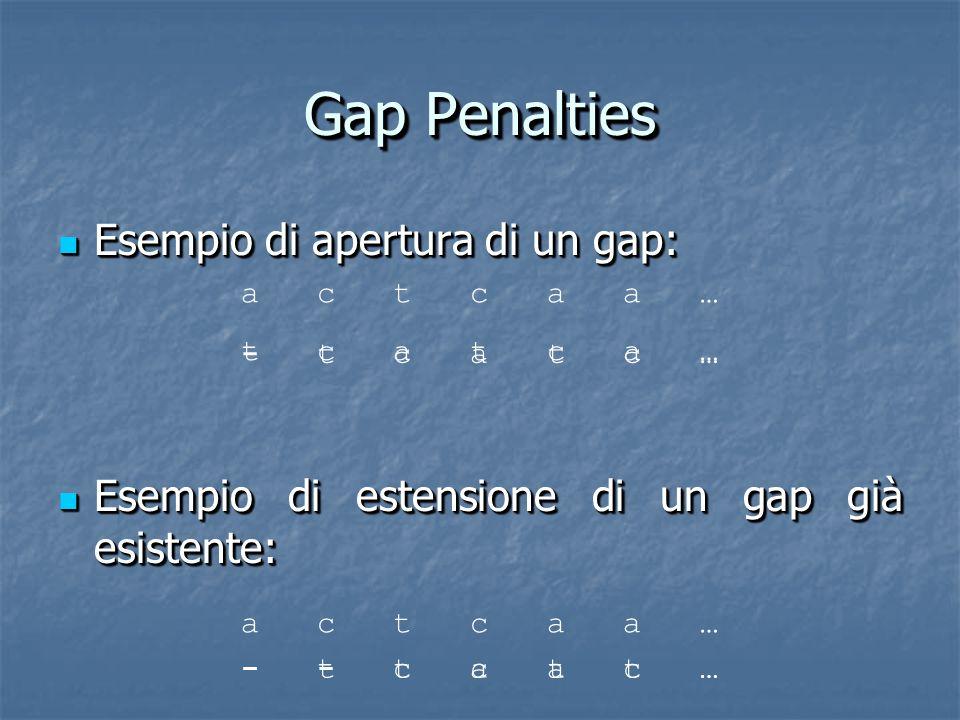 Gap Penalties Esempio di apertura di un gap: Esempio di apertura di un gap: Esempio di estensione di un gap già esistente: Esempio di estensione di un gap già esistente: Esempio di apertura di un gap: Esempio di apertura di un gap: Esempio di estensione di un gap già esistente: Esempio di estensione di un gap già esistente: a c t c a a … t c a t c a … - t c a t c … a c t c a a … - - t c a t …- t c a t c …