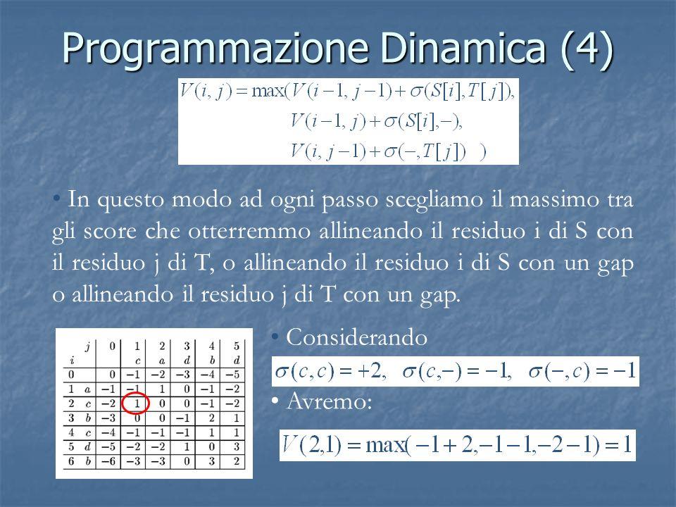 Programmazione Dinamica (4) In questo modo ad ogni passo scegliamo il massimo tra gli score che otterremmo allineando il residuo i di S con il residuo j di T, o allineando il residuo i di S con un gap o allineando il residuo j di T con un gap.