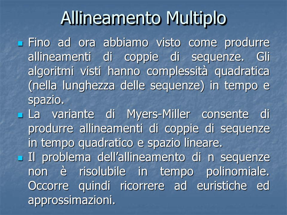 Allineamento Multiplo Fino ad ora abbiamo visto come produrre allineamenti di coppie di sequenze.