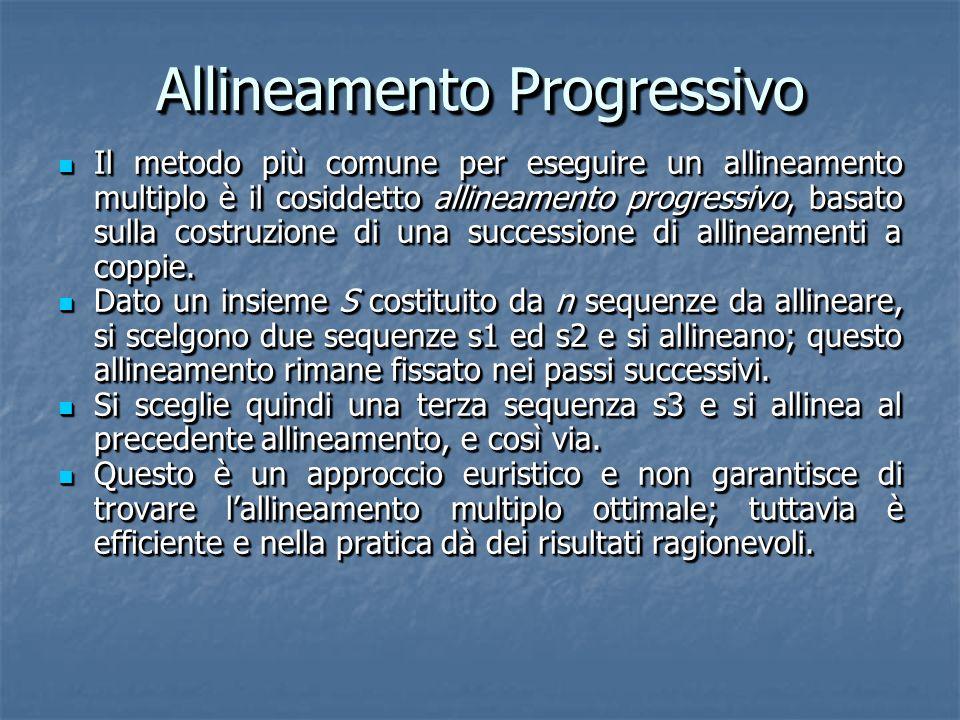 Allineamento Progressivo Il metodo più comune per eseguire un allineamento multiplo è il cosiddetto allineamento progressivo, basato sulla costruzione di una successione di allineamenti a coppie.