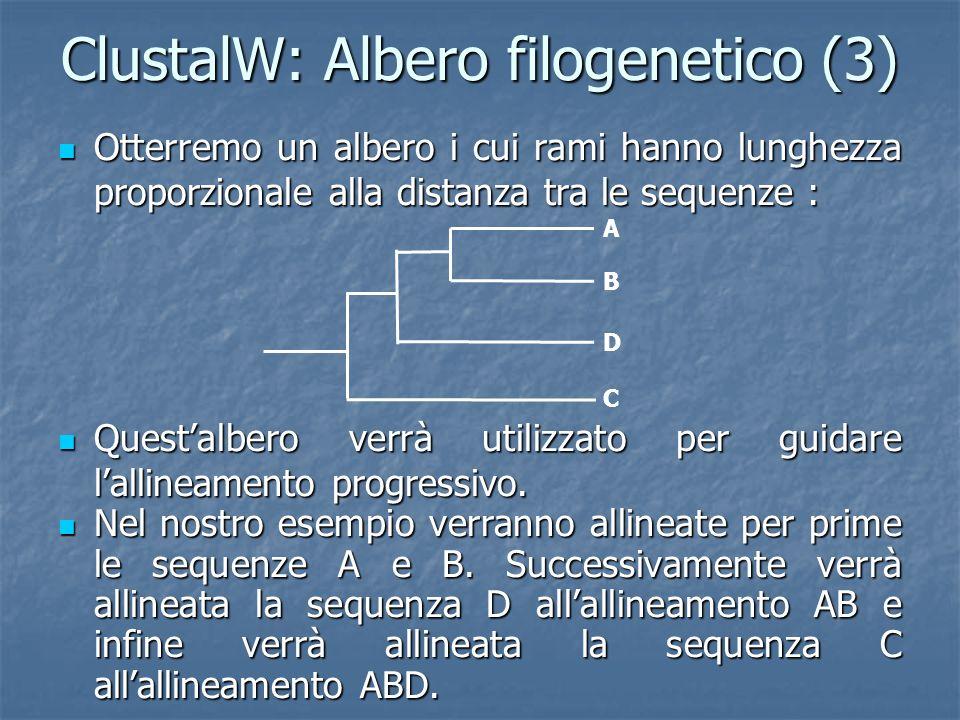 ClustalW: Albero filogenetico (3) Otterremo un albero i cui rami hanno lunghezza proporzionale alla distanza tra le sequenze : Otterremo un albero i cui rami hanno lunghezza proporzionale alla distanza tra le sequenze : Questalbero verrà utilizzato per guidare lallineamento progressivo.