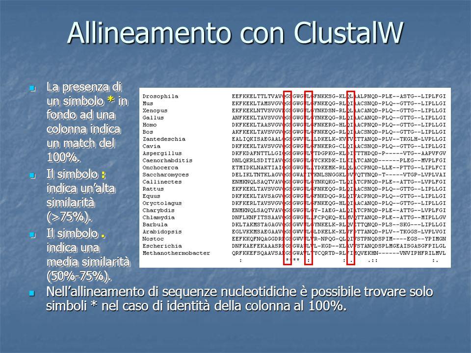 Allineamento con ClustalW Nellallineamento di sequenze nucleotidiche è possibile trovare solo simboli * nel caso di identità della colonna al 100%.
