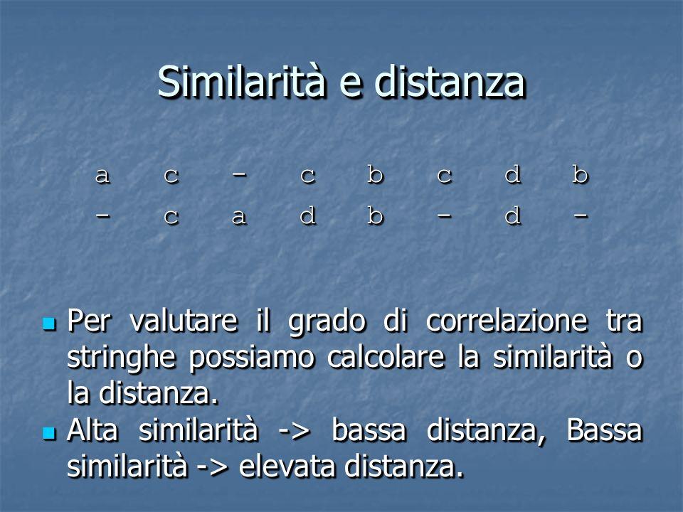 Similarità e distanza a c - c b c d b - c a d b - d - Per valutare il grado di correlazione tra stringhe possiamo calcolare la similarità o la distanza.