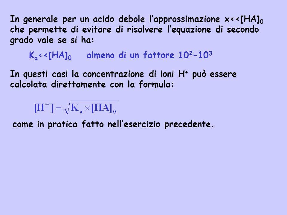 In generale per un acido debole lapprossimazione x<<[HA] 0 che permette di evitare di risolvere lequazione di secondo grado vale se si ha: K a <<[HA]