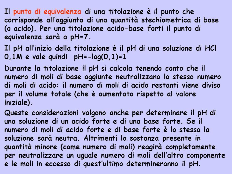 Il punto di equivalenza di una titolazione è il punto che corrisponde allaggiunta di una quantità stechiometrica di base (o acido). Per una titolazion