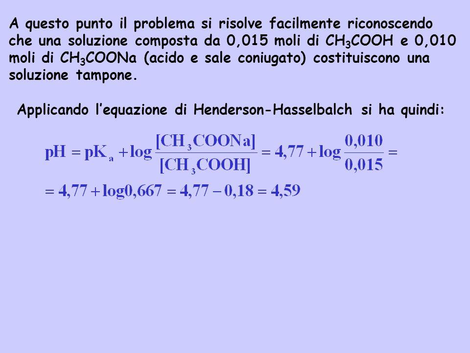A questo punto il problema si risolve facilmente riconoscendo che una soluzione composta da 0,015 moli di CH 3 COOH e 0,010 moli di CH 3 COONa (acido