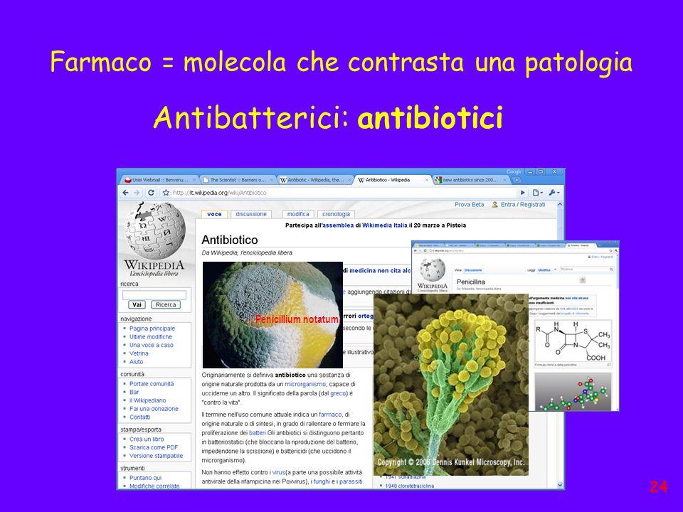 Farmaco = molecola che contrasta una patologia Penicillium notatum Antibatterici: antibiotici 24