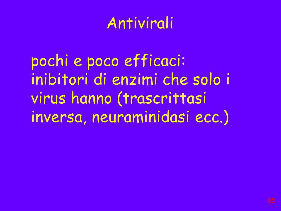 Antivirali pochi e poco efficaci: inibitori di enzimi che solo i virus hanno (trascrittasi inversa, neuraminidasi ecc.) 35