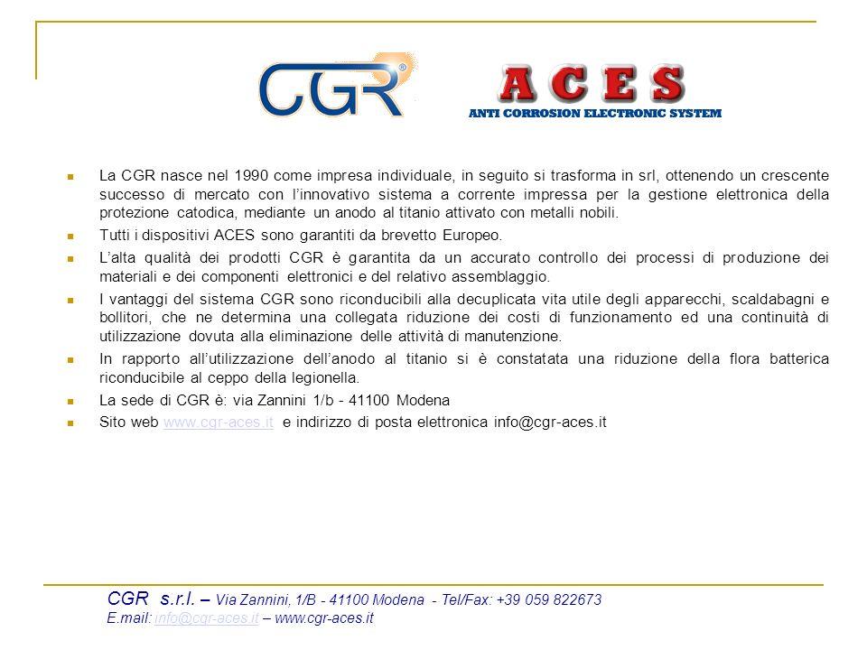 La CGR nasce nel 1990 come impresa individuale, in seguito si trasforma in srl, ottenendo un crescente successo di mercato con linnovativo sistema a corrente impressa per la gestione elettronica della protezione catodica, mediante un anodo al titanio attivato con metalli nobili.