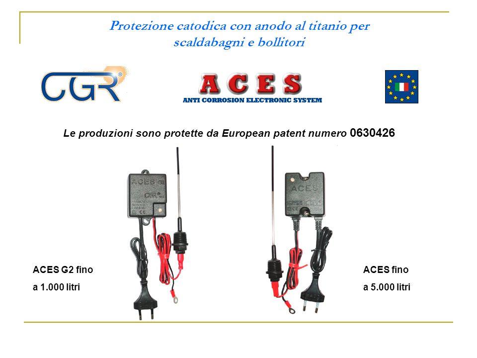 Protezione catodica con anodo al titanio per scaldabagni e bollitori Le produzioni sono protette da European patent numero 0630426 ACES G2 fino a 1.000 litri ACES fino a 5.000 litri