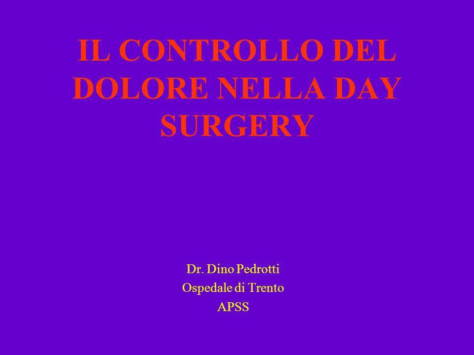 IL CONTROLLO DEL DOLORE NELLA DAY SURGERY Dr. Dino Pedrotti Ospedale di Trento APSS