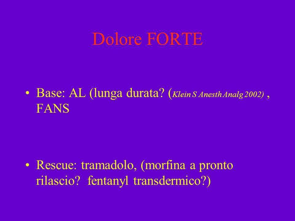 Dolore FORTE Base: AL (lunga durata? ( Klein S Anesth Analg 2002), FANS Rescue: tramadolo, (morfina a pronto rilascio? fentanyl transdermico?)