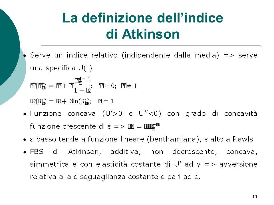 11 La definizione dellindice di Atkinson