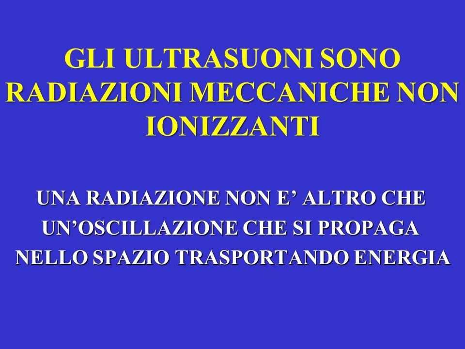 RADIAZIONI MECCANICHE NON IONIZZANTI GLI ULTRASUONI SONO RADIAZIONI MECCANICHE NON IONIZZANTI UNA RADIAZIONE NON E ALTRO CHE UNOSCILLAZIONE CHE SI PRO