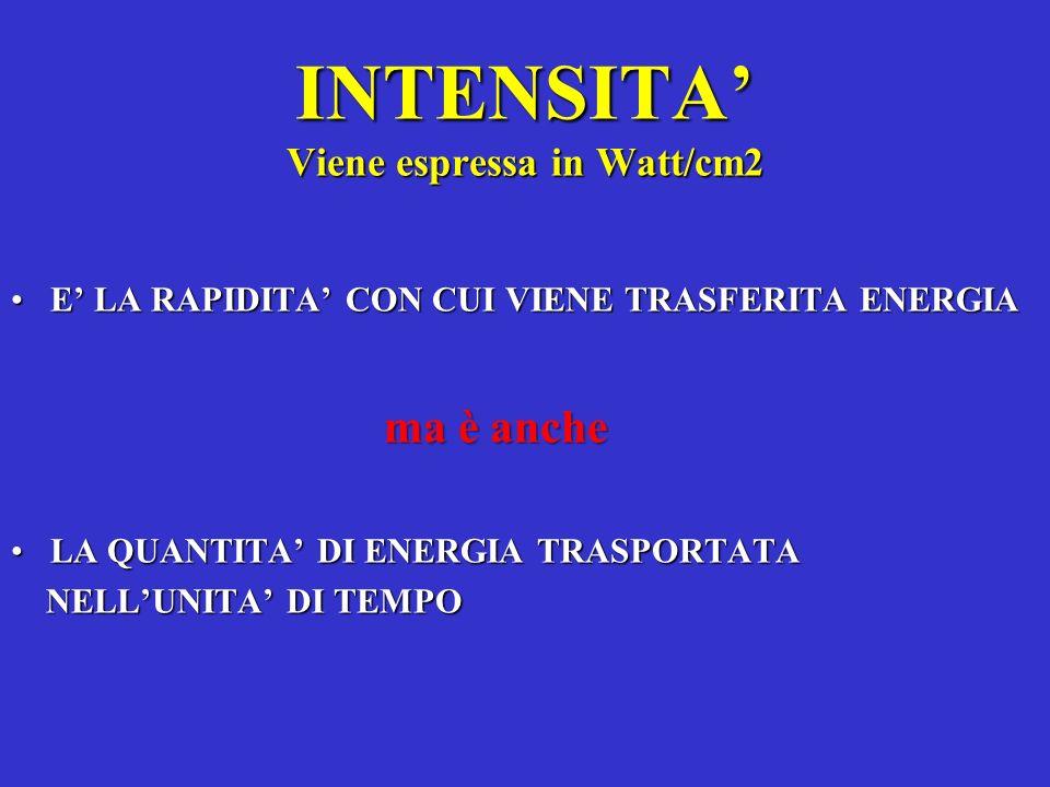INTENSITA Viene espressa in Watt/cm2 E LA RAPIDITA CON CUI VIENE TRASFERITA ENERGIAE LA RAPIDITA CON CUI VIENE TRASFERITA ENERGIA ma è anche ma è anch