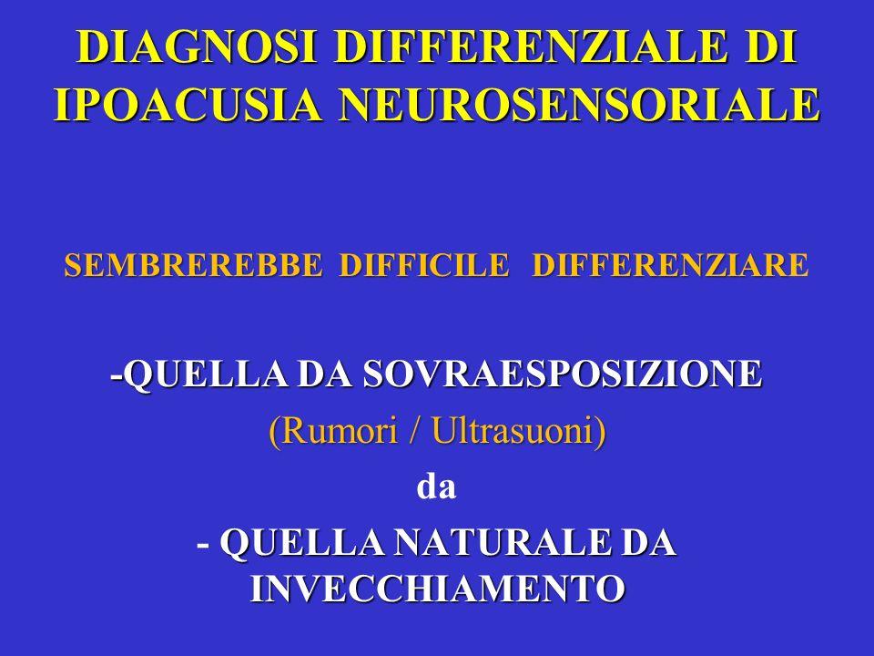 DIAGNOSI DIFFERENZIALE DI IPOACUSIA NEUROSENSORIALE SEMBREREBBE DIFFICILE DIFFERENZIAR SEMBREREBBE DIFFICILE DIFFERENZIARE -QUELLA DA SOVRAESPOSIZIONE