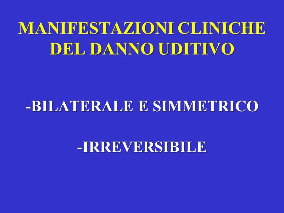 MANIFESTAZIONI CLINICHE DEL DANNO UDITIVO -BILATERALE E SIMMETRICO -IRREVERSIBILE