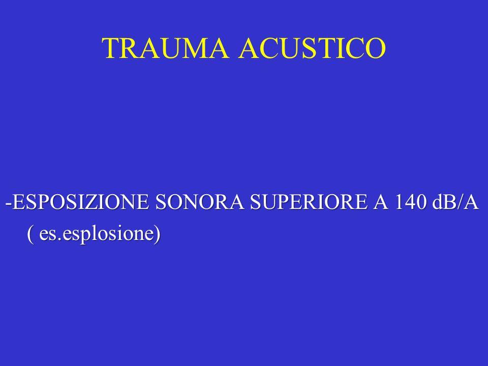 TRAUMA ACUSTICO -ESPOSIZIONE SONORA SUPERIORE A 140 dB/A ( es.esplosione) ( es.esplosione)