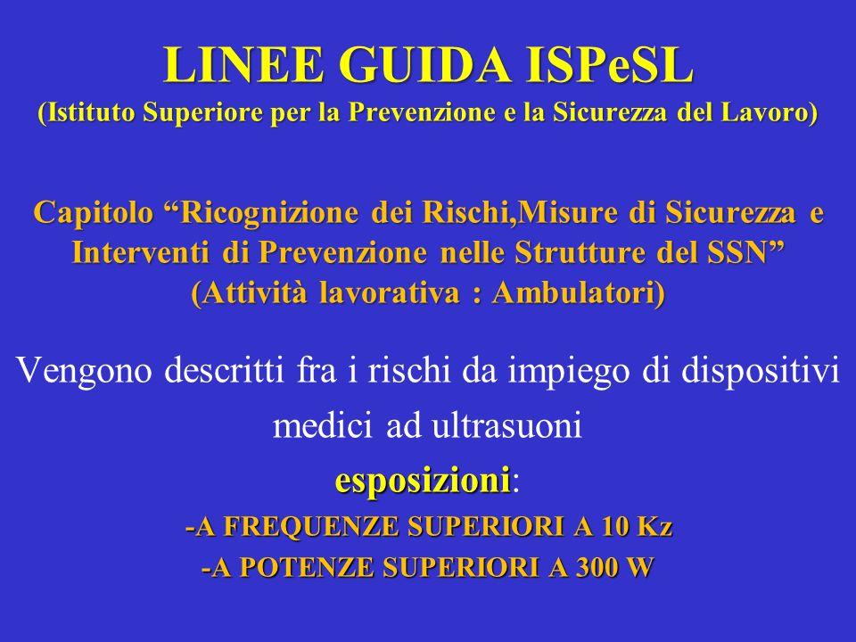 LINEE GUIDA ISPeSL (Istituto Superiore per la Prevenzione e la Sicurezza del Lavoro) Capitolo Ricognizione dei Rischi,Misure di Sicurezza e Interventi
