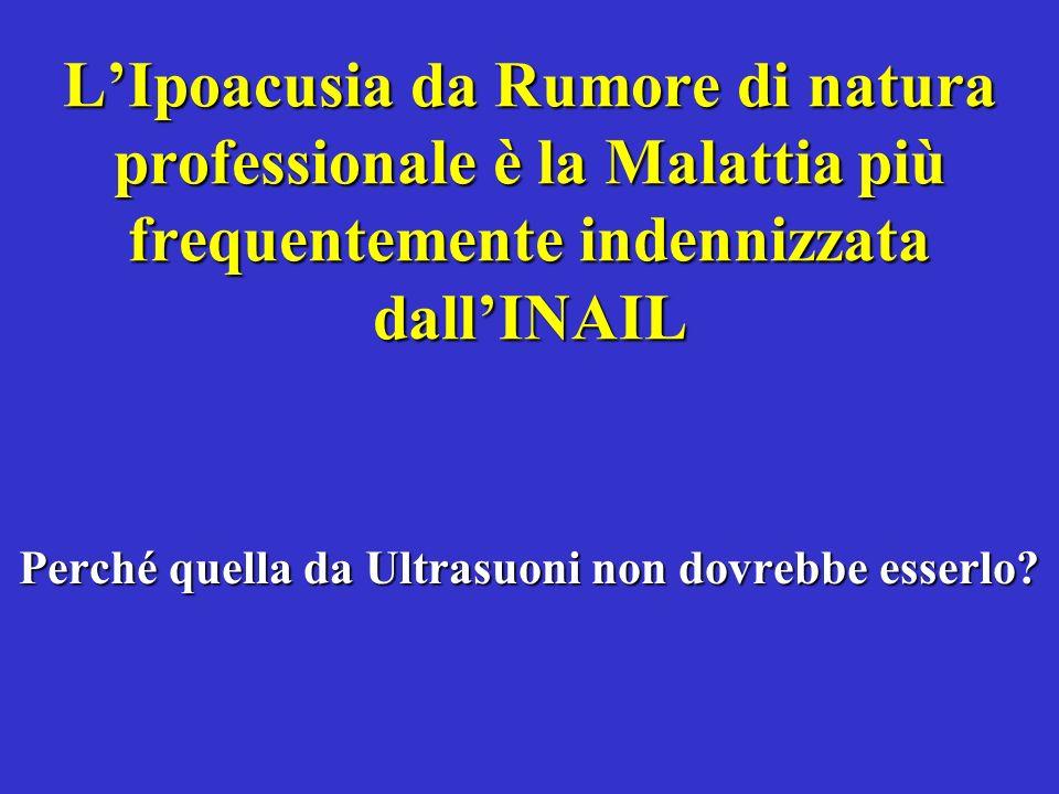 LIpoacusia da Rumore di natura professionale è la Malattia più frequentemente indennizzata dallINAIL Perché quella da Ultrasuoni non dovrebbe esserlo?