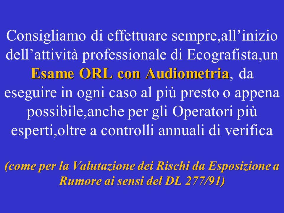 Esame ORL con Audiometria (come per la Valutazione dei Rischi da Esposizione a Rumore ai sensi del DL 277/91) Consigliamo di effettuare sempre,alliniz