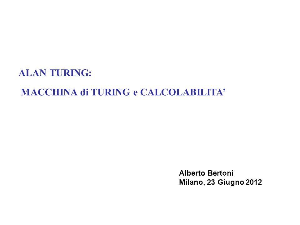 ALAN TURING: VITA 1912: nasce a LONDRA 1924: passione per gli SCACCHI 1934: laurea in Matematica a CAMBRIDGE 1936/38: propone il modello di Macchina visita PRINCETON – Tesi di Church-Turing 1939/45: collabora con il Secret Intelligence Service a BLETCHLEY PARK 1946: pianifica (senza successo) lo sviluppo di un calcolatore al Nat.