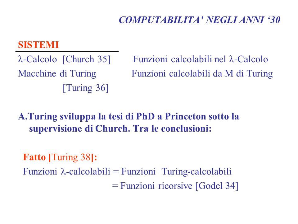 COMPUTABILITA NEGLI ANNI 30 SISTEMI -Calcolo [Church 35] Funzioni calcolabili nel -Calcolo Macchine di Turing Funzioni calcolabili da M di Turing [Tur