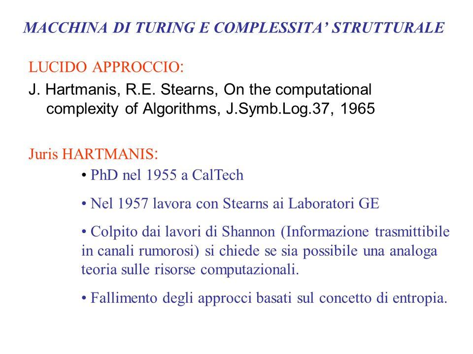 MACCHINA DI TURING E COMPLESSITA STRUTTURALE LUCIDO APPROCCIO : J. Hartmanis, R.E. Stearns, On the computational complexity of Algorithms, J.Symb.Log.