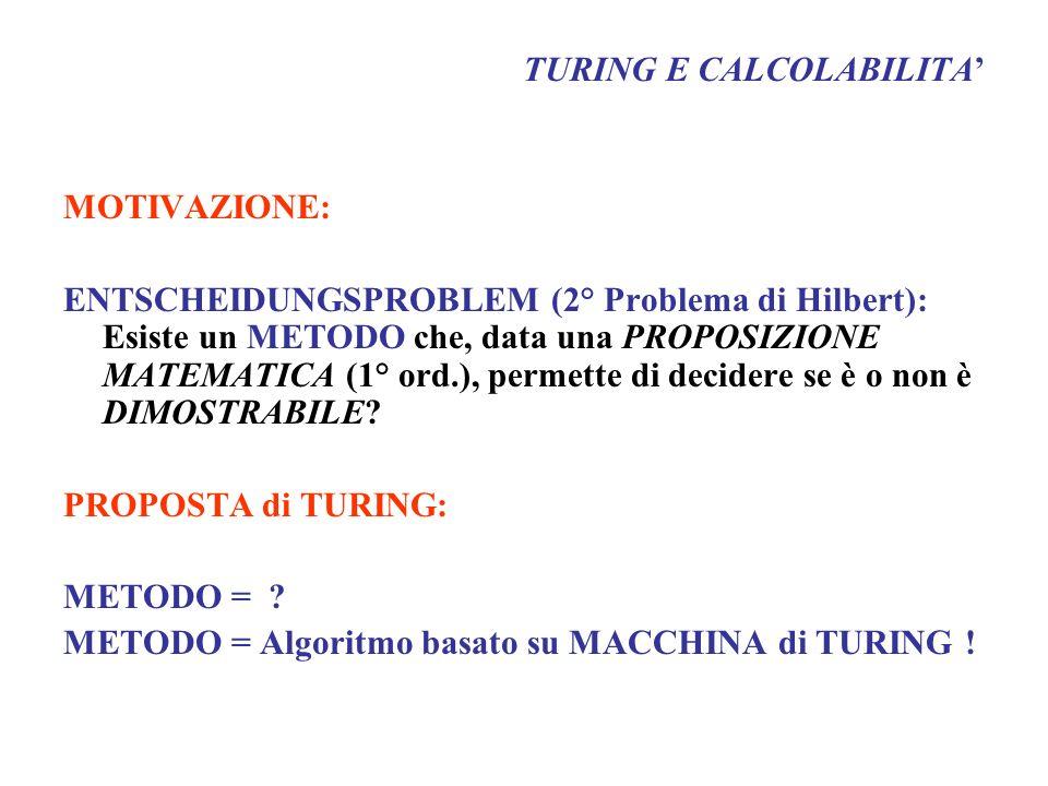 TURING E CALCOLABILITA MOTIVAZIONE: ENTSCHEIDUNGSPROBLEM (2° Problema di Hilbert): Esiste un METODO che, data una PROPOSIZIONE MATEMATICA (1° ord.), p
