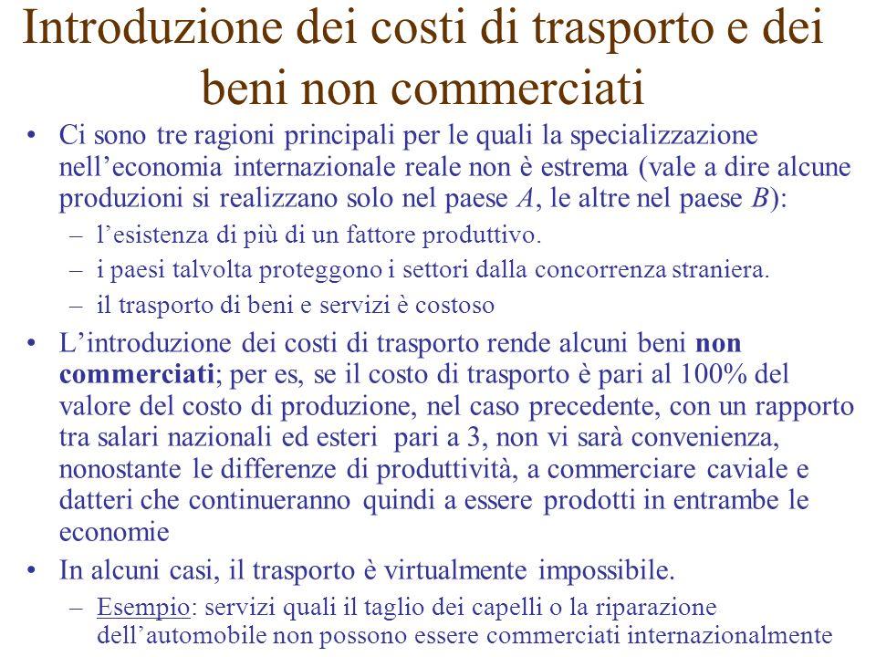 Introduzione dei costi di trasporto e dei beni non commerciati Ci sono tre ragioni principali per le quali la specializzazione nelleconomia internazio