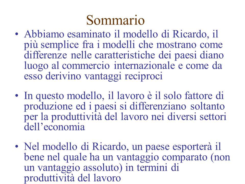 Sommario Abbiamo esaminato il modello di Ricardo, il più semplice fra i modelli che mostrano come differenze nelle caratteristiche dei paesi diano luogo al commercio internazionale e come da esso derivino vantaggi reciproci In questo modello, il lavoro è il solo fattore di produzione ed i paesi si differenziano soltanto per la produttività del lavoro nei diversi settori delleconomia Nel modello di Ricardo, un paese esporterà il bene nel quale ha un vantaggio comparato (non un vantaggio assoluto) in termini di produttività del lavoro