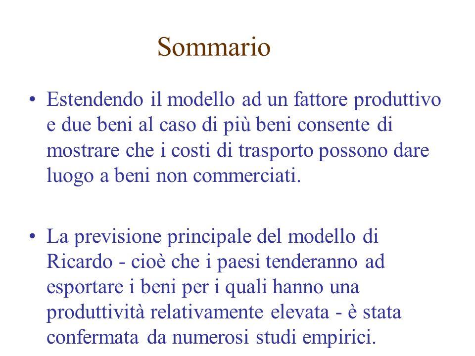 Estendendo il modello ad un fattore produttivo e due beni al caso di più beni consente di mostrare che i costi di trasporto possono dare luogo a beni non commerciati.