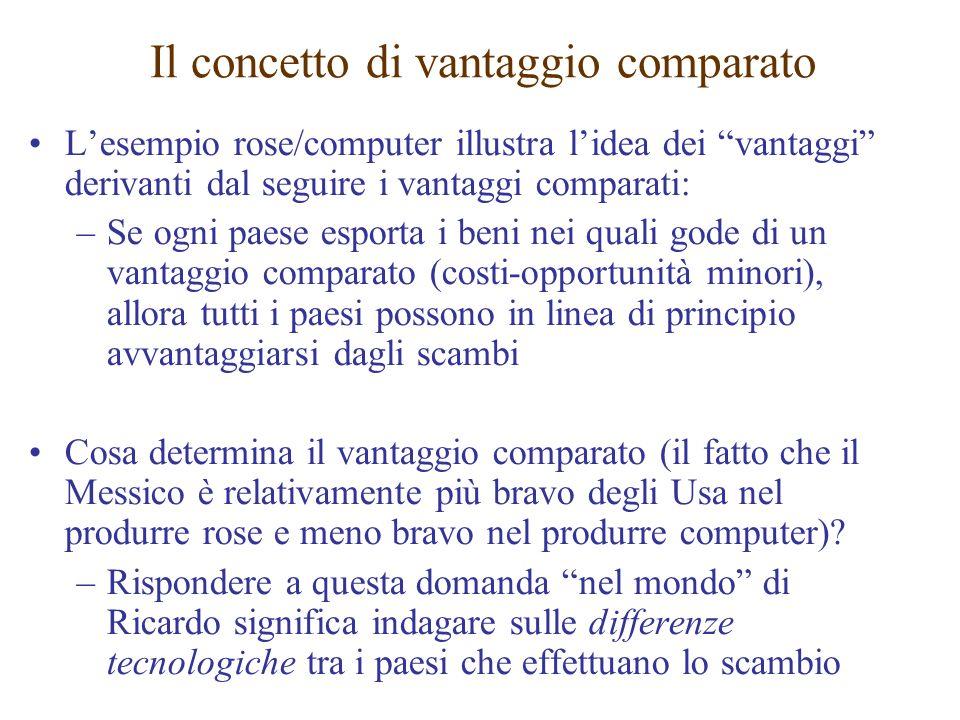 Lesempio rose/computer illustra lidea dei vantaggi derivanti dal seguire i vantaggi comparati: –Se ogni paese esporta i beni nei quali gode di un vant