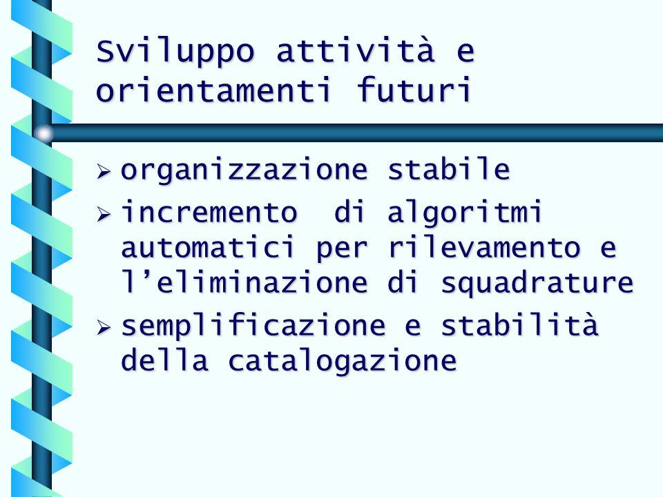 Sviluppo attività e orientamenti futuri organizzazione stabile organizzazione stabile incremento di algoritmi automatici per rilevamento e leliminazio